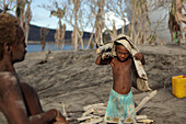 Children on Matupit Island. They have never known their island other then covered in ash, Tavurvur Volcano, Rabaul, East New Britain, Papua New Guinea, Pacific