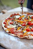 Fresh pizza, Klein Thurow, Roggendorf, Mecklenburg-Western Pomerania, Germany