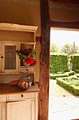 View into a garden, Klein Thurow, Roggendorf, Mecklenburg-Western Pomerania, Germany