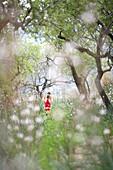 Zwei Mädchen laufen über Blumenwiese, Esporles, Mallorca, Balearen, Spanien