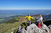 Two climbers on a rock, Kampenwand, Chiemgau Alps, Chiemgau, Upper Bavaria, Bavaria, Germany