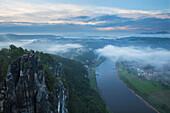 View from the Bastei Rocks onto Elbe river, National Park Saxon Switzerland, Elbe Sandstone Mountains, Saxony, Germany, Europe