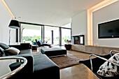 Open-plan living area, Neuenkirchen, North Rhine-Westphalia, Germany
