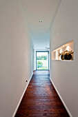 Small corridor with wooden floor, Neuenkirchen, North Rhine-Westphalia, Germany