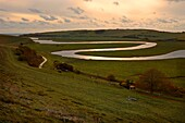 U.K, Sussex, South Downs National Park,river Cuckmere meanders at sunset