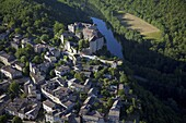 France, Tarn et Garonne, Bruniquel village, Aveyron river, aerial view