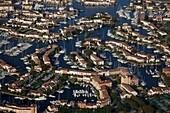 France, Var, Grimaud port, touristic destination, aerial view