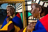 Africa, South Africa, Mpumalanga Province, KwaNdebele, Ndebele tribe, Mabhoko village, the artist Francina Ndimande preparing herself
