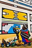 Africa, South Africa, Mpumalanga Province, KwaNdebele, Ndebele tribe, Mabhoko village, the artist Francina Ndimande painting her walls