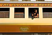 Africa, Zimbabwe, South Matabeleland province, Beitbridge trainstation, the Shongololo Express, Sihle Kuwa works on board since 5 years as a waitress and housekeeper