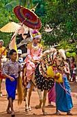Myanmar (Burma), Yangon State, Yangon, on the way to Mount Popa, novices ordination ceremony