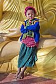 Myanmar (Burma), Sagaing State, Leshi, Naga children on the feet of the Great Buddha