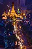 Myanmar (Burma), Yangon State, Yangon, from Sakra Tour view on Sule Pagoda, aged 2000 years and said to hide one of Buddha's hair in its golden zedi