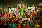 Myanmar (Burma), Mandalay State, Popa Mount, Mahagiri sanctuary, the Daw Aye Yin forecastear is a privileged intermediate between pilgrims and the 37 nats (spirits) of the Burmese pantheon, a very popular place of worship in Myanmar