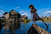 Myanmar (Burma), Shan State, Inle lake, Pauk Par village, the fisherman U Thone on his canoe, only way to move from one stilt house to the other