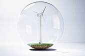 Wind turbine inside a glass bubble