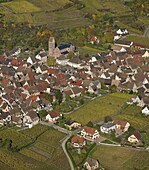 France, Haut-Rhin (68), Gueberschwihr, picturesque village of Alsace, situated on the Alsace wine route, autumn landscape, (aerial view)