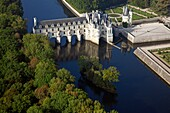 France, Indre-et-Loire (37), the Chenonceau castle (XVI century), history monument, built on the Cher, it is also called the Chateau des Dames, (aerial view)