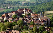 France, Lot (46), Village Loubressac labeled the Most Beautiful Villages of France, the old fortified village sits atop a rocky peak (for air)
