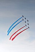 France, Etretat, Airshow of Alpha Jet aircrafts of Patrouille de France(French Acrobatic Patrol)