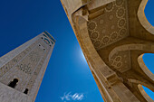 Mosque and Mineret Against Blue Sky, Low Angle View, Casablanca, Morocco