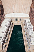 Hoover Dam and Lake Mead. Black Canyon. Colorado River. View from above of the reservoir and hydroelectric dam., Hoover Dam and Lake Mead, USA