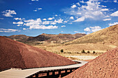 Painted Cove Trail, in the Painted Hills division of John Day Fossil Beds National Monument contains not just stunningly beautiful landscapes and interesting geologic history, but also tranquil peace and quiet., Boardwalk, Painted Cove Trail, John Day Fos
