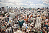 Downtown Tokyo skyline viewed from above. Densely populated and built up area of the city., Cityscape, Tokyo, Japan