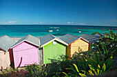 Colourful beach huts on the beach, Atlantic Coast, Antigua, West Indies, Caribbean, Central America, America