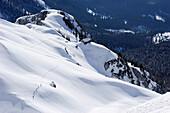 Group of people backcountry skiing, crossing a snow face above Gruttenhuette hut, Kaiser Express backcountry ski tour, Ellmauer Halt, Wilder Kaiser, Kaiser mountain range, Tyrol, Austria