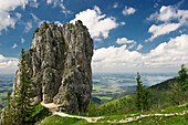Rock near Kampenwand with lake Chiemsee in the background, Chiemgau, Bavaria, Germany