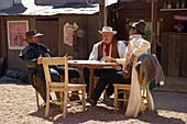 Performance of historical gunfights at Six Gun City, Tombstone, Western Heritage, Silver-mining, Sonora Desert, Arizona, USA, America
