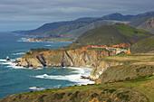 View of the Pacific coast with Bixby Bridge, Pacific Ocean, California, USA, America