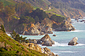 View of Pacific coast with Julia Pfeiffer Burns State Park, California, USA, America