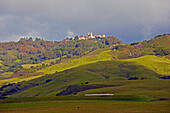 View of Hearst Castle in idyllic hilly landscape, California, USA, America
