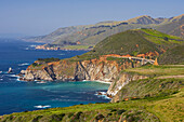 View of Pacific coast with Bixby Bridge, Pacific Ocean, Highway 1, California, USA, America