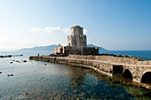 Bourtzi tower on the waterfront, Methoni, Peloponnese, Greece, Europe