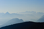 View from the BergeLodge onto the Allgaeu alps and lake Forgensee, Alpspitze, Allgaeu, Bavaria, Germany, Europe