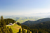 View of BergeLodge and Allgaeu alps, Alpspitze, Allgaeu, Bavaria, Germany, Europe
