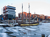 Frozen water in the Harbour City, Hanseatic City of Hamburg, Germany, Europe