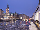 The illuminated town hall in the evening, Hanseatic City of Hamburg, Germany, Europe