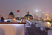Rooftop terrace of Terrace Swatch Peace Hotel at night, Bund, Shanghai, China, Asia