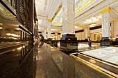 Art Deco Lobby Bank of China am Bund in Shanghai, Bank of China Bund, Jugendstil, Stuck, Design, polierter Marmor, Shanghai, China, Asien