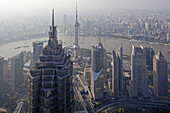 View from the observation deck of the Shanghai World Financial Center over city and Huangpu river, Pudong, Shanghai, China, Asia