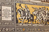 Furstenzug, Procession of Princes, a wall mural made of Meissen porcelain, Dresden, Saxony, Germany