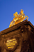 Equestrian statue of August the Strong in the evening light, Dresden, Saxony, Germany