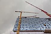 Elbe Philharmonic Hall with glass facade, construction site, Hafencity, Hamburg, Germany