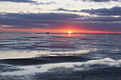 Sunset at Wadden Sea, Island of Juist, East Frisia, Lower Saxony, Germany, Europe