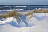 Snowy dunes at the shore of Baltic Sea, Heiligendamm, Mecklenburg Western Pomerania, Germany, Europe