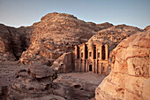 The monastery Ad Deir carved out of stone in the evening light, Petra, UNESCO world heritage, Wadi Musa, Jordan, Middle East, Asia